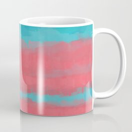 Sunset in Paradise, Minimal Abstract Painting in Coral and Turquoise Colors, Modern Paint Stripes  Coffee Mug