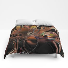 Deception copper gold brown Lines tangled design pattern Comforters