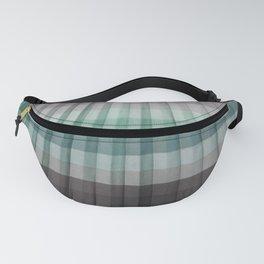 Teal Seafoam Slate Gray Pleated Stripes Fanny Pack
