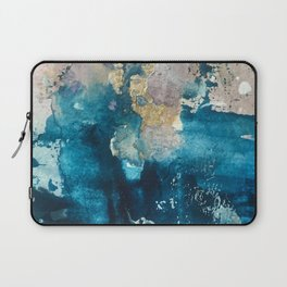 Timeless: A gorgeous, abstract mixed media piece in blue, pink, and gold by Alyssa Hamilton Art Laptop Sleeve