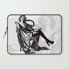 Retro Woman Wearing Vintage Lingerie and Drinking from Flask Laptop Sleeve