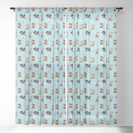 Zombie Cats Sheer Curtain