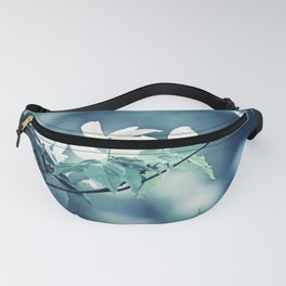 Navy Blue White Nature Photography, Dogwood Tree Branches, Dark Flower Floral Branch, Botanical Blue Fanny Pack