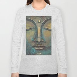 Rusty Golden Copper Buddha Face Watercolor Painting Long Sleeve T-shirt