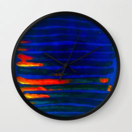 Midnight Blue Lava Lines, Our Earth Burn Marks Wall Clock