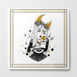 Moon Witch - Gold phase Metal Print