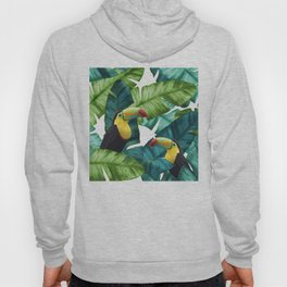 Toucans Tropical Banana Leaves Pattern Hoody