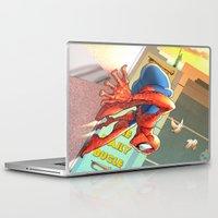 spider man Laptop & iPad Skins featuring Spider Man by Brian Hollins art