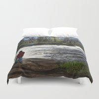 spawn Duvet Covers featuring Salmon Jump by Michael Hewitt