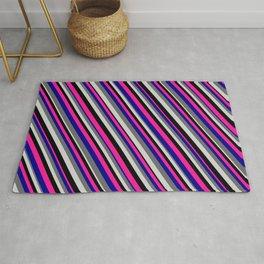 Deep Pink, Dark Blue, Dim Gray, Light Grey, and Black Colored Stripes Pattern Rug