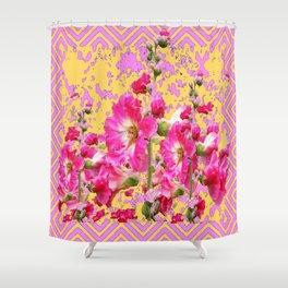 Modern Art Fuchsia Pink Colored  Hollyhocks Pattern Shower Curtain