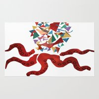 octopus Area & Throw Rugs featuring octopus by March Hunger