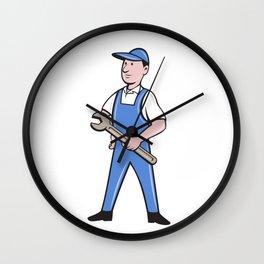 Repairman Holding Spanner Cartoon  Wall Clock