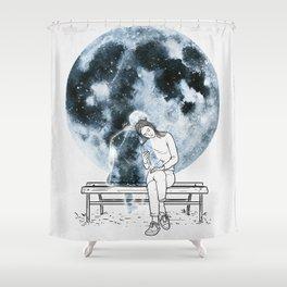 The moon hug. Shower Curtain