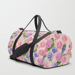 Robin and flowers, watercolor pattern Duffle Bag