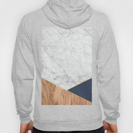 Geometric White Marble - Wood & Navy #599 Hoody