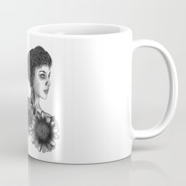 The Girl With A Skull And Flowers Coffee Mug
