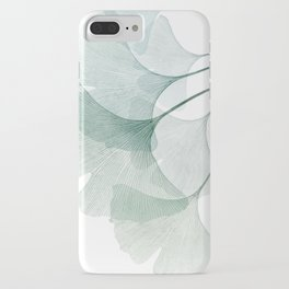 Teal Ginkgo Leaves iPhone Case