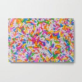 Dessert Rainbow Sprinkles Pattern Metal Print