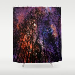 Black Twisted Tree Orange Blue Purple Space Shower Curtain