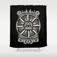 all seeing eye Shower Curtains featuring All Seeing Eye by Pancho the Macho