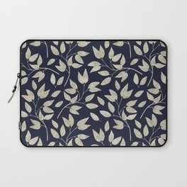 Abstract Silver leaves Navy Blue Inspiring Words Typography Laptop Sleeve