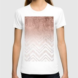Modern faux rose gold ombre chevron sticth white marble pattern T-shirt