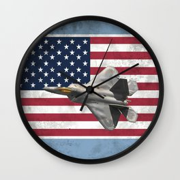 F22 Stealth Fighter Jet American Flag Wall Clock