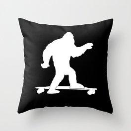 Skateboarding Bigfoot Skateboarding Lover Skater Gift Throw Pillow