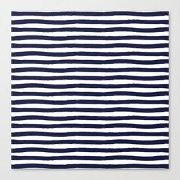 Navy Blue and White Horizontal Stripes Canvas Print
