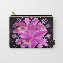 Pinkish-Purple Cattleleya Orchids Black-Lilac Pattern Art Carry-All Pouch