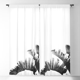 Palm leaves black and white tropical watercolor Blackout Curtain