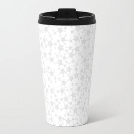 Block Print Silver-Gray and White Star Pattern Travel Mug