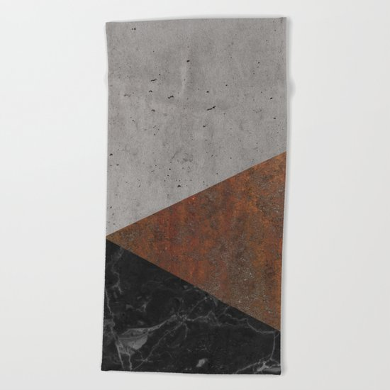 Concrete, rusted iron, marble abstract Beach Towel