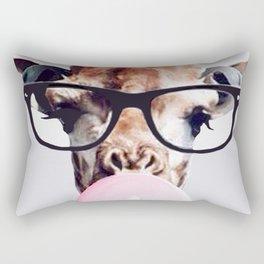 Giraffe wearing glasses blowing bubble gum Rectangular Pillow