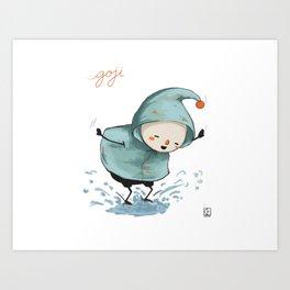 Goji welcomes the rain! Art Print