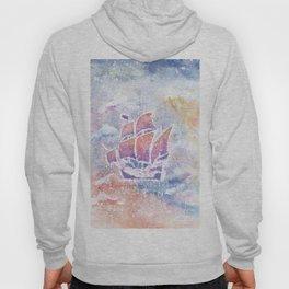 Ship Watercolor Art Illustration. Hoody