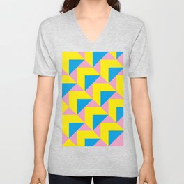 A lot of little small yellow and blue roofs. Pink is the color of the grass or of the houses bodies. Unisex V-Neck