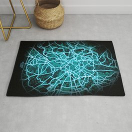Rome, Italy, Blue, White, Neon, Glow, City, Map Rug