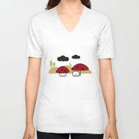 mushroom V-neck T-shirts featuring Mushroom by pludadesign
