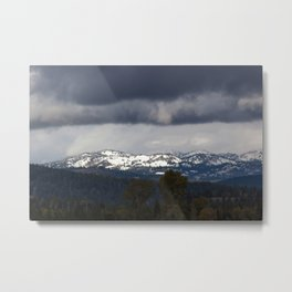 Snow Capped Mountains under clouds Metal Print