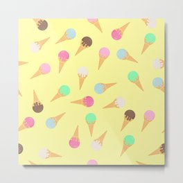 Colorful ice creams pattern Metal Print