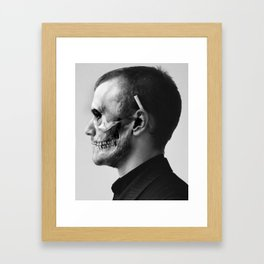 Skull Double Exposure Framed Art Print