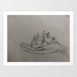 Mountain Hands Art Print