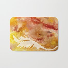 Abstract Acrylic Painting Leaves Series I YELLOW AND RED Bath Mat