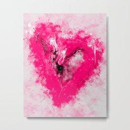 pink flamingo love couple splatter watercolor Metal Print