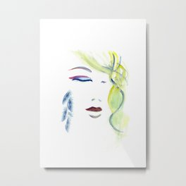with the Shaman ~ Still like the Moon Metal Print