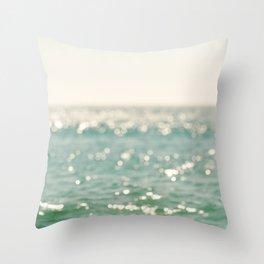 beach. bokeh sparkle. ocean. La Mer Throw Pillow
