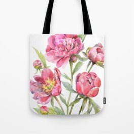 Peonies Watercolor Florals Botanical Design Tote Bag