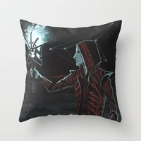 dragon age Throw Pillows featuring Dragon Age: The Hermit by Sara Cuervo